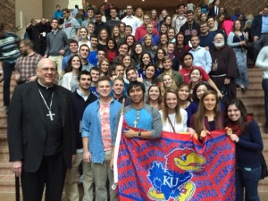 University of Kansas students with Archbishop Naumann after mass Sunday, Jan. 4 in Nashville, Tenn. at SEEK2015.